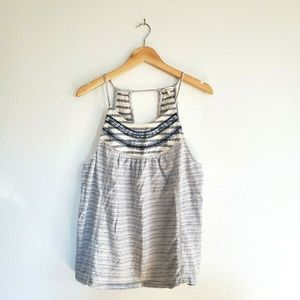 Lucky Brand Striped Embroidered Tank size Large